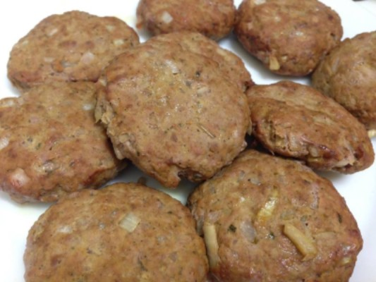 Beef Rissoles cooked and dished